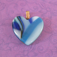 Blue Heart Pendant, Royal Blue Striped Heart With Sky Blue and Turquoise - Dearest One - 4639 - 2