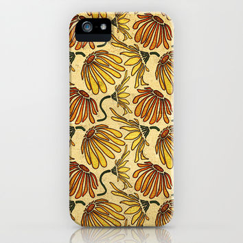Retro 70's Golden Yellow Daisy Pattern  iPhone & iPod Case by Perrin Le Feuvre