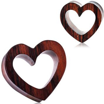 Organic Sono Wood Heart Tunnel Plug by Every Body Jewelry