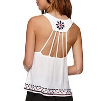 LA Hearts Cutout Back Racer Tank - Womens Shirts - White -