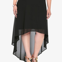 Chiffon Hi-Lo Skirt with Belt