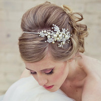 Wedding Hair Rhinestone tiara with flowers and by BeSomethingNew