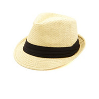 PLEATED BAND STRAW FEDORA HAT