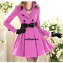 Elegant purple buckle long lady coat