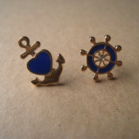 Nautical Earrings Anchor Earring Wheel Earring by Bitsofbling