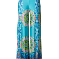 Double Vision Printed Palazzo Pants - Aqua | Daily Chic
