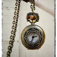 Long Antique Bronze Clock Necklace by labellemoon on Etsy