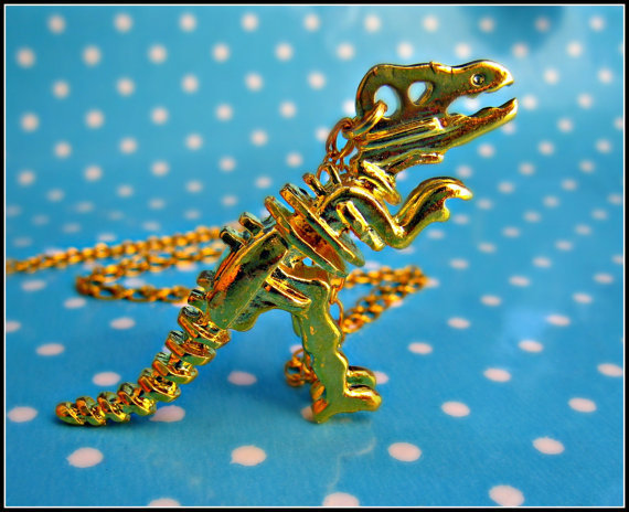 kitsch dinosuar skeleton necklace by alapopjewelry