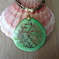 Green and Gold Shell Pendant with Gold Seed by EudaimoniaJewelry