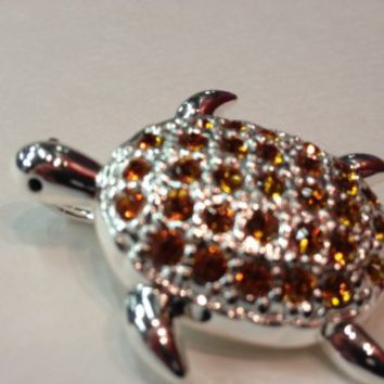 Amber Turtle Brooch