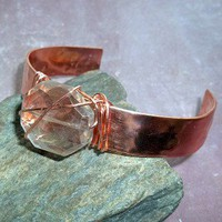 Smoky Quartz Copper Cuff Bracelet