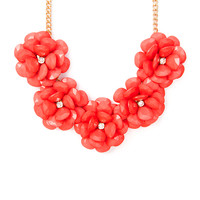 Blooming Shiny Stone Teardrop Flowers Statement Necklace