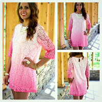Fragrant Waters Pink Floral Lace Shift Dress