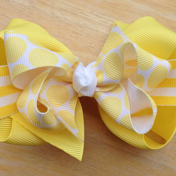 Summer sunshine double boutique bow - yellow boutique bow