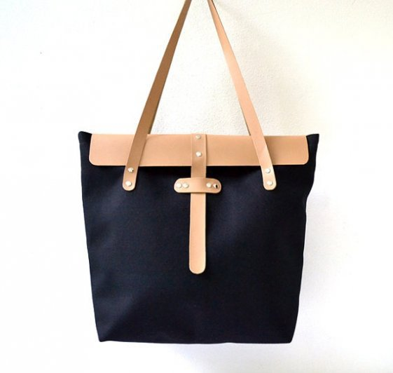 piiqshop - Market Place - Black Canvas and Beige Leather Tote, Travel Bag, Beach Bag, Shoulder Bag, Large Tote, Diaper Bag, School-Magazine-Book Tote