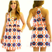 Yuma Valley Red Aztec Print Sleeveless Dress