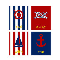 Nautical Nursery Print Set Set of 4 Nautical Art by RomanticaHome