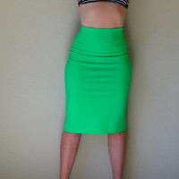 Hand Dyed High Waist Pencil Skirt in Stretch Knit Cotton by SewRed