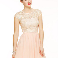 Shine Lace Cap Sleeve Dress - Blush