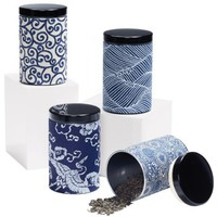 Japanese Blue and White Motif Canisters