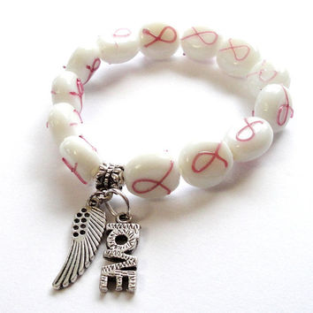 White Pink Breast Cancer Awareness Bracelet,  Silver Wing Love Charms Elastic Stretchy Beaded Bracelet, Fits up to 7.5""
