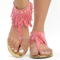 Indian Summer Pink Coral Fringe Ankle Sandals Suede
