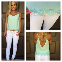 Delilah Low Back Daisy Tank - MINT