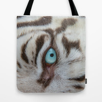 EYE OF THE WHITE TIGER Tote Bag by Catspaws | Society6