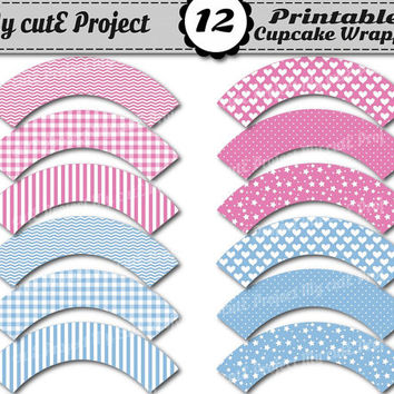 Cupcake Wrappers Baby Blue & Pink - Instant Download - Candy Bar decoration- Printable