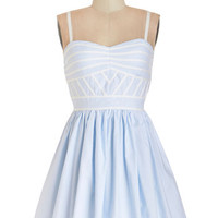 ModCloth Pastel Short Spaghetti Straps A-line Lush with Beauty Dress in Pale Sky