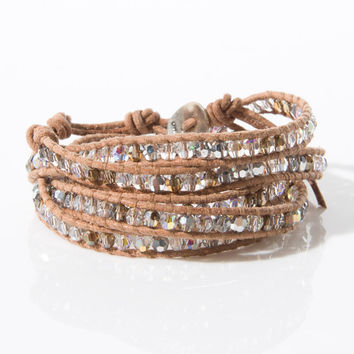 "32"" Bracelet With Assorted Swarovski in Brown"