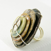 ring cocktail ceramic stacked wire wrapped by PiaBarileJewelry