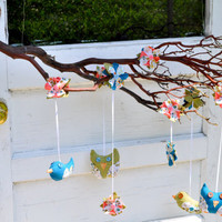 $60.00 Shabby Birdies and Chic Owls Branch Mobile by sashatalina on Etsy