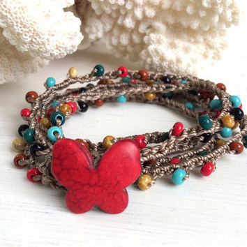 Southwestern colors wrap bracelet, light brown crochet beach bracelet, red, turquoise, brown, black, boho chic, lariat necklace, butterfly