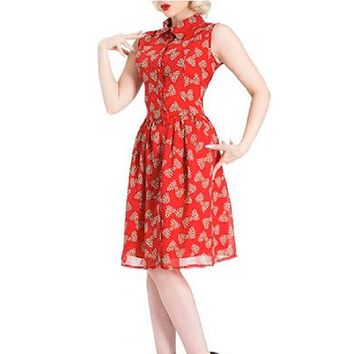 """Leopard Bows"" Flair Dress by Voodoo Vixen (Red)"