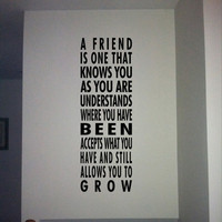 A friend is one   vinyl wall quote  new  by daydreamerdesign