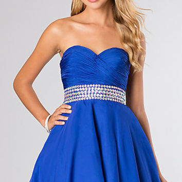 Short Strapless A-Line Prom Dress