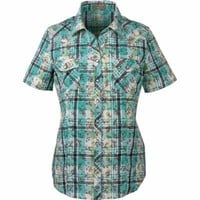 Bit & Bridle™ Ladies' Short-Sleeved Cotton Floral Plaid Western Y-Neck Shirt