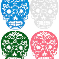 Sweet Sugar Skulls Coasters Set