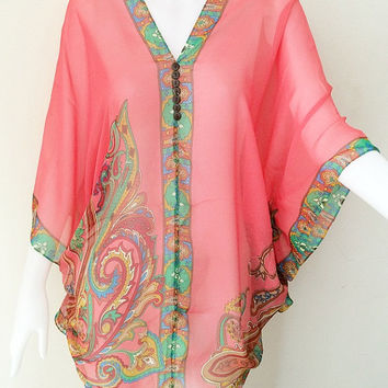 Beach Cover up bikini Hippie Boho Gypsy Tunic Caftan sexy Top dress plus size L- 4X 14-26