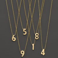 """Zoë Chicco 14K Yellow Gold Number Necklace, 16"""""""
