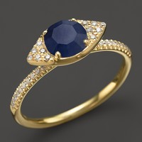 Meira T 14K Yellow Gold Blue Sapphire Evil Eye Ring with Diamonds