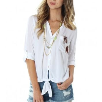 Tied Button Down White