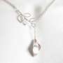 Lariat Leaf Calla Lily Necklace Silver Plated Chain by JSCJewelry
