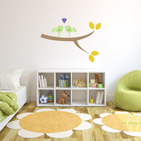 Children Wall Decal Bird Branch Leaves Love by LittleMooseDecals