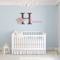 Children Wall Decal Baby Name Monogram Vinyl by LittleMooseDecals