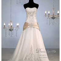Buy Luxury Sweetheart Belted A-line Wedding Dress (L#)