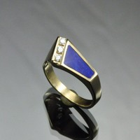 Gold Lapis and Diamond Inlayed Ring | JewelerJim - Jewelry on ArtFire