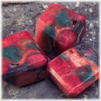 Jasper Deep Red and Rich Green Glycerin Hand Carved Soap Stones | Soapsmith - Bath & Beauty on ArtFire