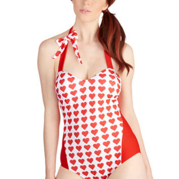 ModCloth Pinup Sleeveless Loving the Lake One-Piece Swimsuit